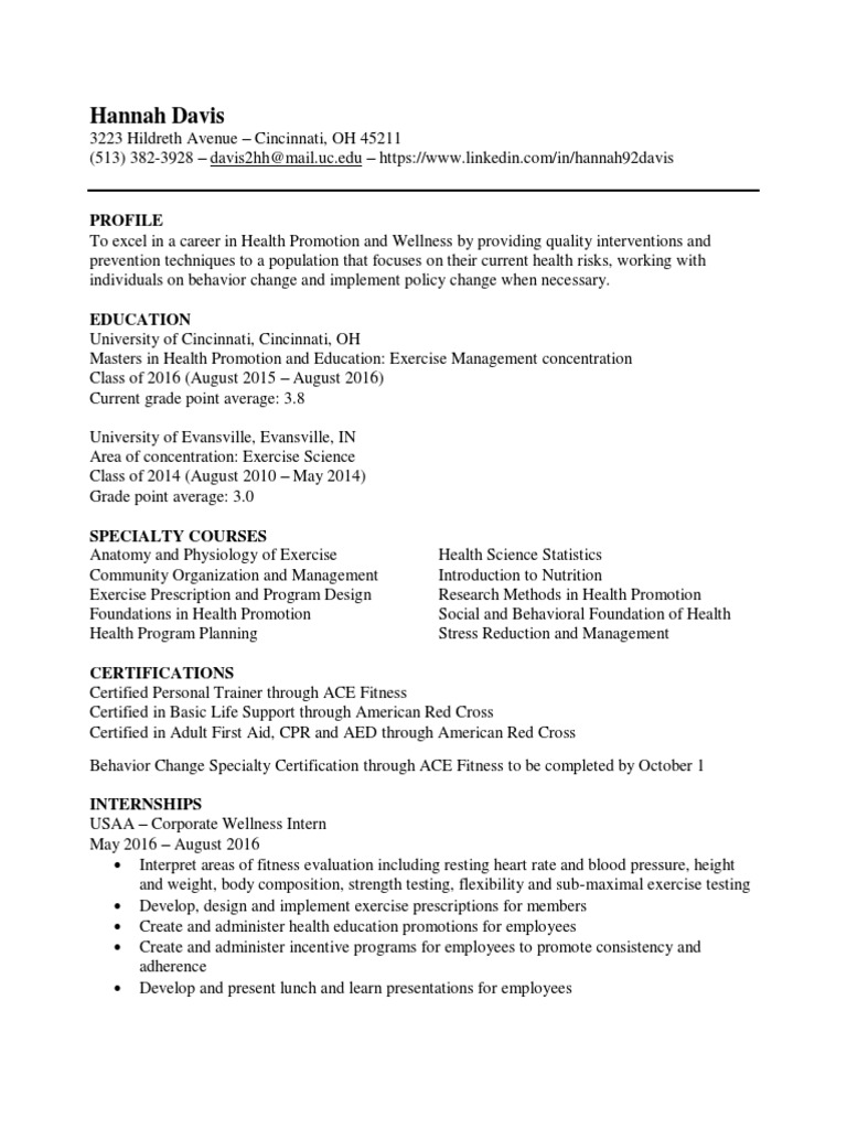 Resume davis hannah physical fitness physical exercise 1betcityfo Image collections
