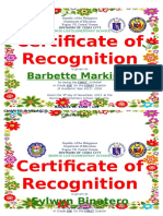 Certificate of Recognition Honors