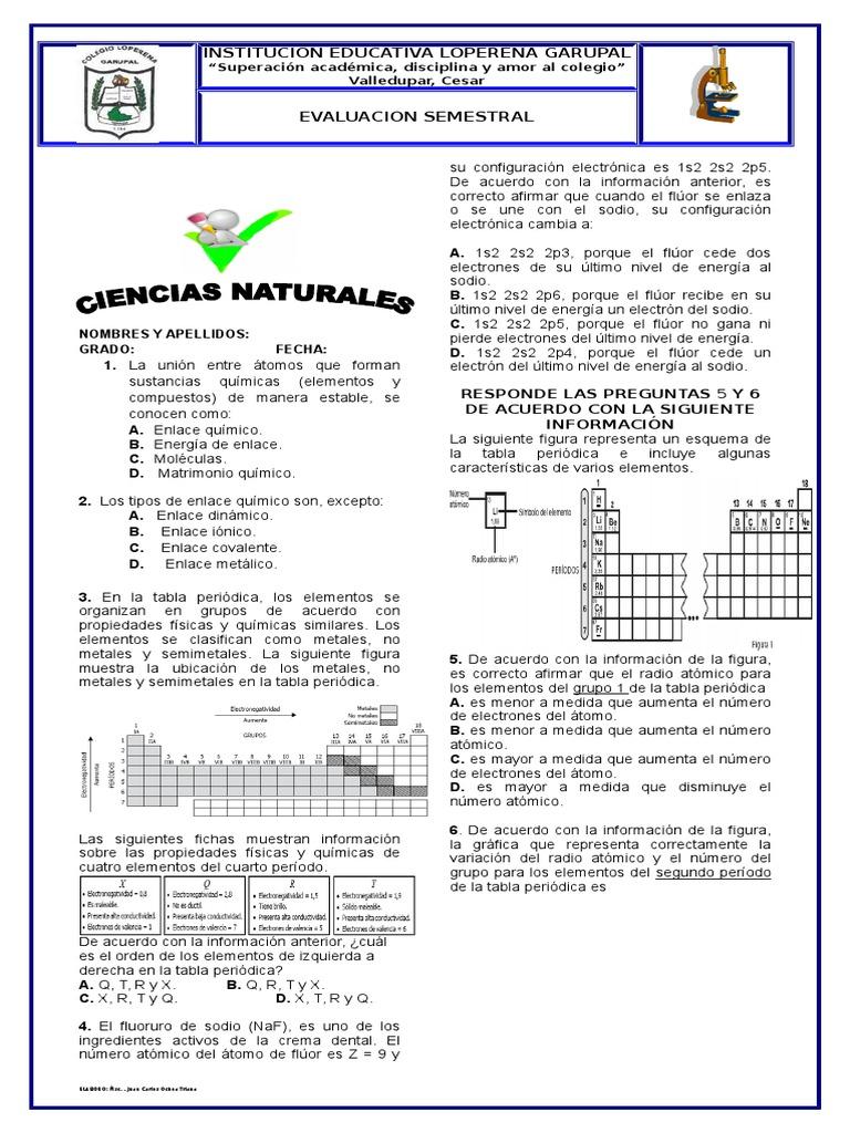 Evaluacion de qumica urtaz Choice Image