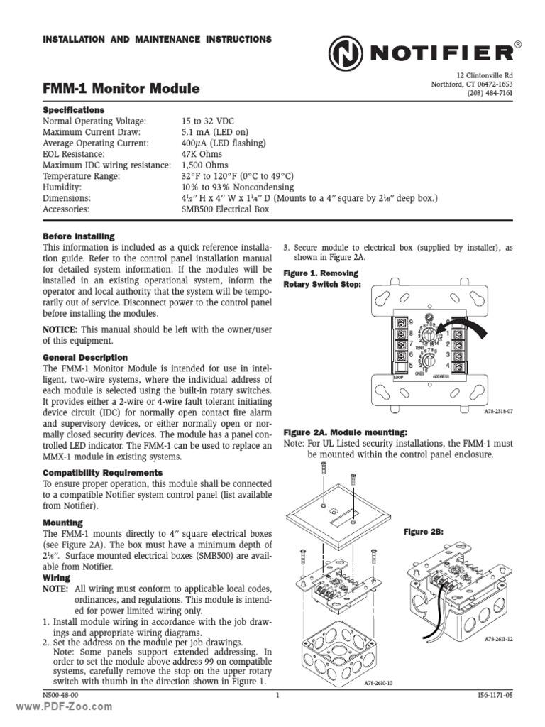 notifier fmm 1 monitor module switch electrical wiring rh scribd com Notifier Fire Alarm Notifier Fire Alarm