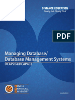 Dcap204 Managing Database Dcap402 Database Management Systems