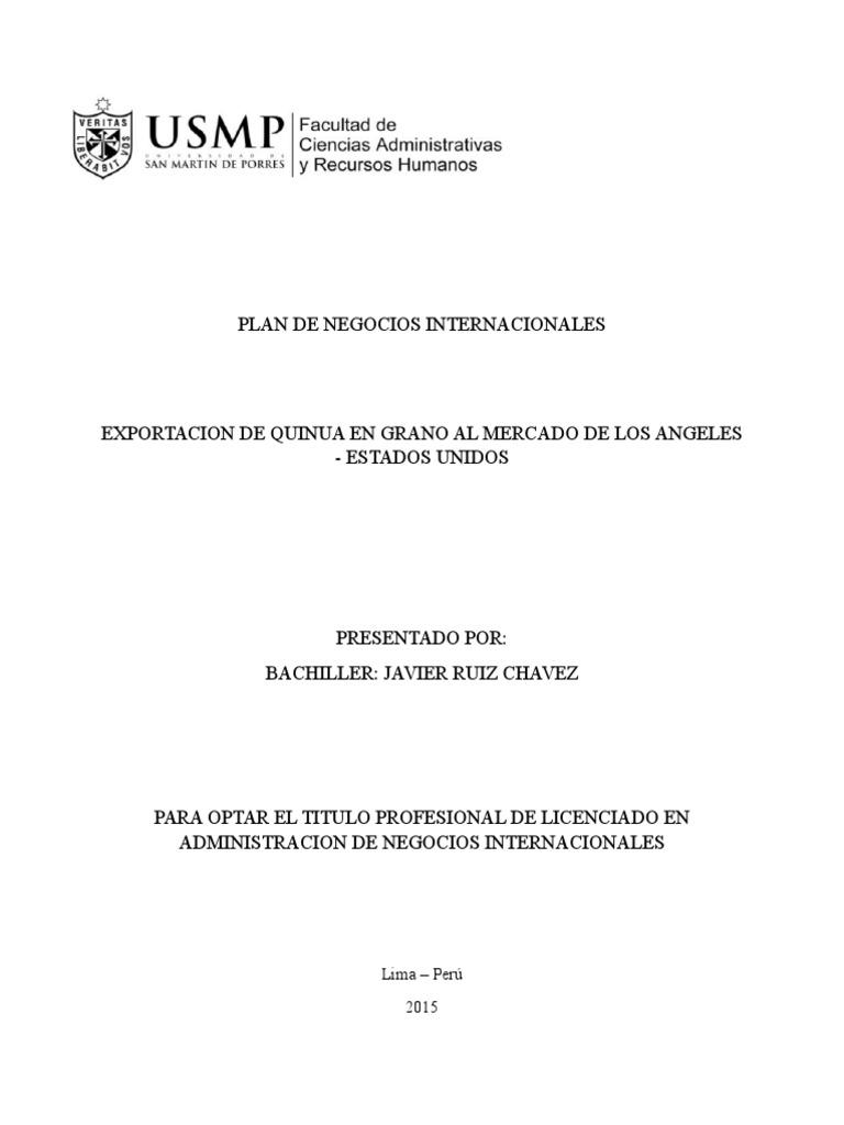 Exportacion de Quinua