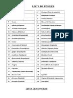 Lista de Fósiles