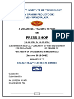 bhel bhopal training report on press shop