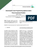 Neutrosophic Goal Programming applied to Bank