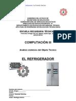 Análisis Sistémico de Objeto Técnico El refrigerador
