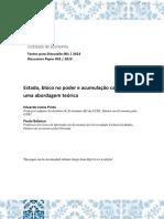 Eduardo Costa Pinto, Paula Balanco - Estado, Bloco No Poder e Acumulação Capitalista, Uma Abordagem Teórica PAPER, 2013