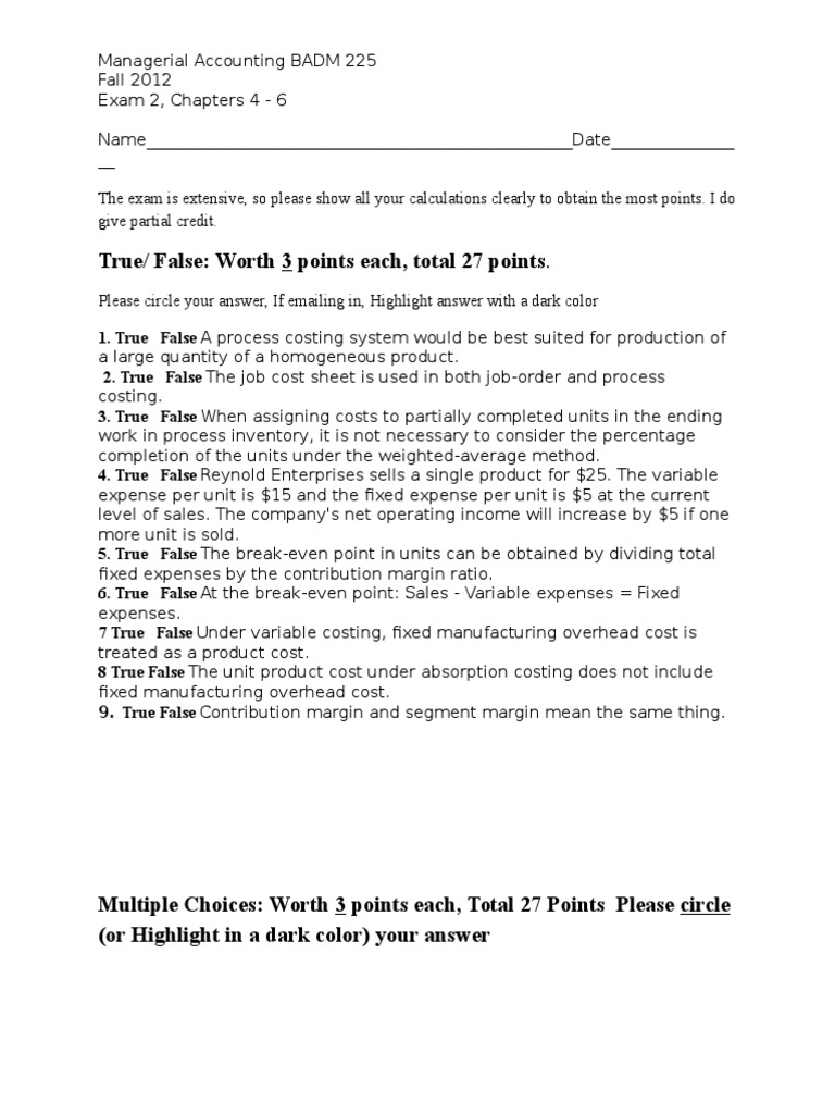 Exam 2 Managerial Accounting Ch 4