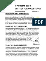 VSC August Newsletter for 2016