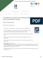 Os Efeitos Da Intermitente Restrição Energética Nos Índices de Cardiometabolic Saúde