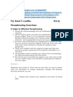 Paraphrasing-exercises Credits Level 3 June 1st