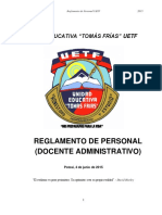 Reglamento de Personal de La Unidad Educativa Tomás Frías. Actualizado 2015