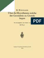B. Riemann, H. Weyl (auth.)-Über die Hypothesen, welche der Geometrie zu Grunde liegen-Springer Berlin Heidelberg (1919)