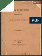 Ley, Plan de Estudios y reglamentos de Educación común, Asunción año 1888 Imp. *El Independiente*