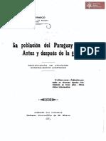 La población del Paraguay, antes y después de la guerra extraído de los articulos de Gabriel Carrasco de *La Nación* Buenos Aires publicado en Asunción año 1905