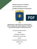 Hb y Hto Del Rn y Tipo de Clampaje Del Cu. c.s.m.p. Simón Bolívar.2016