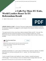 Brexit Sparks Calls for More EU Exits, World Leaders React to EU Referendum Result