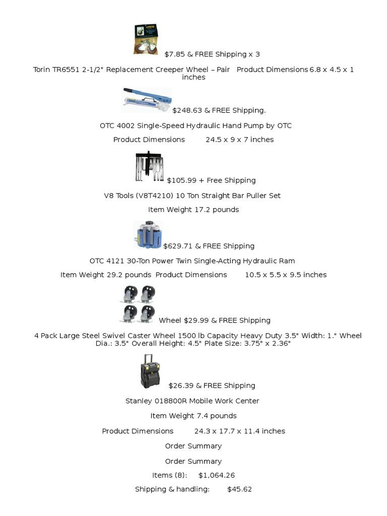 10 Ton Straight Bar Puller Set V8T4210 V-8 Tools
