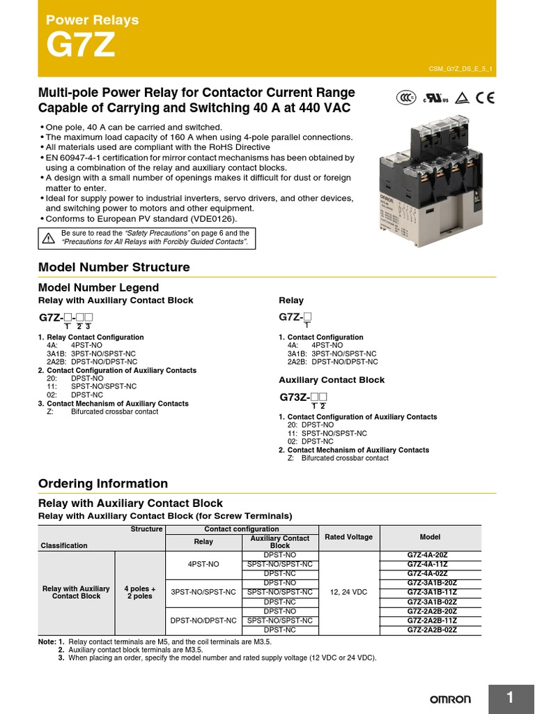 G7z Omron Power Relay 40a At 440v Inductor No Nc Contacts