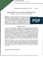 Phenomenology and Public Administration
