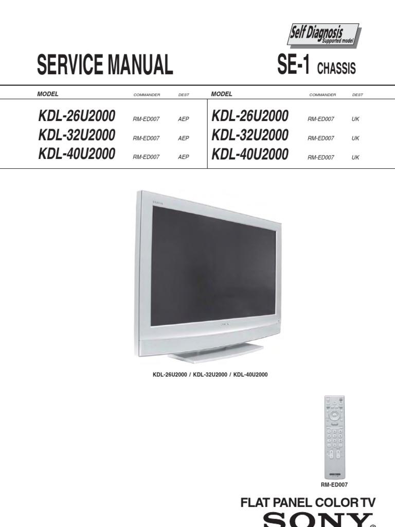 Sony Kdl 26u2000 32u2000 40u2000 Chassis Se 1 Wiring Diagram For A Goldstar Ac R6004 Diagrams