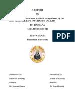 Project - Study of LI Products of IDBI Fed.