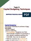 Topic 5 Capital Budgeting Technique