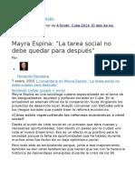 Mayra Espina La Tarea Social No Debe Quedar Para Después