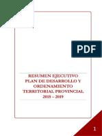 RESUMEN EJECUTIVO PLAN DE DESARROLLO Y ORDENAMIENTO TERRITORIAL PROVINCIAL 2015 – 2019