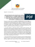 """Nota de Protesta contra Ministra de Educación Nacional, por imposición de """"Ideología de Género"""" en colegios (Julio 2016)"""