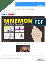 Acid Base and Electrolyte Balance Mnemonics and Tips