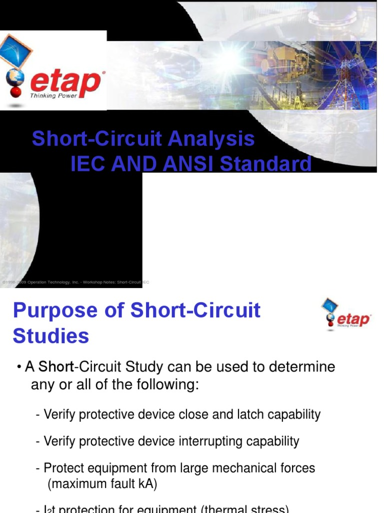 Ppt Training Etap Short Circuit Network Analysis Electrical Shortcircuit Circuits Electronic Engineering