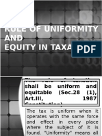 Rule of Uniformity And Equity in Taxation