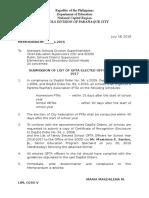 Division Memorandum - Submission of List of GPTA Elected Officers