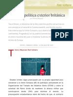 La nueva política exterior británica, por Thierry Meyssan