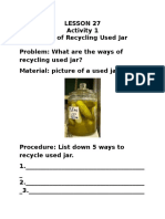 Science Lesson 27 Activity Sheets Ways of Recycling Waste Materials