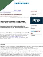 Deinstitutionalization and Attitudes Toward Mental Illness in Jamaica
