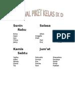 Contoh Jadwal Piket