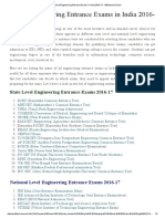 State,National&University List of Engineering Entrance Exams in India 2016-17-99Entrance Exam
