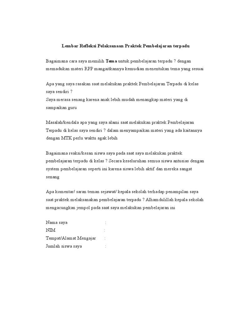 Lembar Refleksi Pelaksanaan Praktek Pembelajaran T Doc