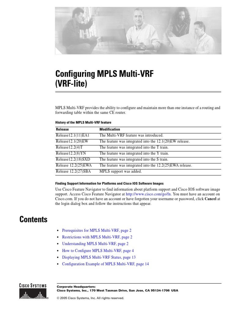 Configuring MPLS Multi-VRF   Virtual Private Network
