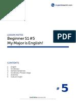5. My Major is English - B_S1L5_080409_eclass101