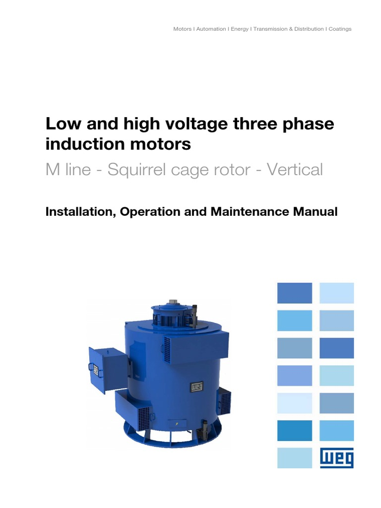 Weg Low And High Voltage Three Phase Induction Motors Squirrel Cage Fan Wiring Diagram Rotor Vertical 11371757 Manual Englishpdf Bearing Mechanical Hvac