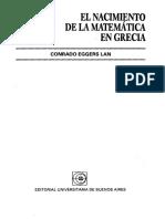 Eggers Lan, Conrado - El Nacimiento de La Matemática en Grecia (Capítulo I)