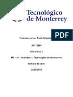 MII – U1 - Actividad 1. Tecnologías de Información.