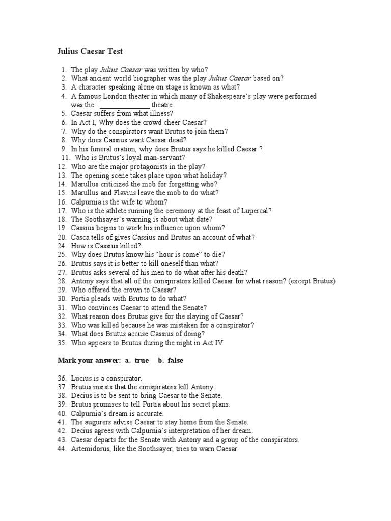 JULIUS CAESAR COMPREHENSIVE HONORS ENGLISH TEST by Language Arts     Genius Macbeth essay questions Cambio Gaius Julius Caesar was a Roman general  statesman Consul and notable author