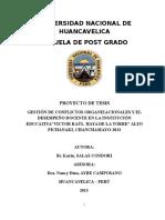 Proyecto de Tesis Conflictos Organizacionales y Desempeño Docente Pichanaki (Karin)