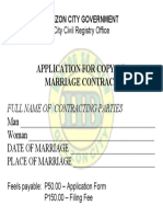 Quezon City Application Form for Marriage Contract