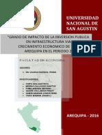 Grado de Impacto de La Inversión Publica en Infraestructura Vial Sobre El Crecimiento Económico de La Región Ar equipa Periodo 2010-2014