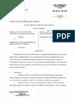 20160725 Kokua Council Complaint against Hawaii Department of Health